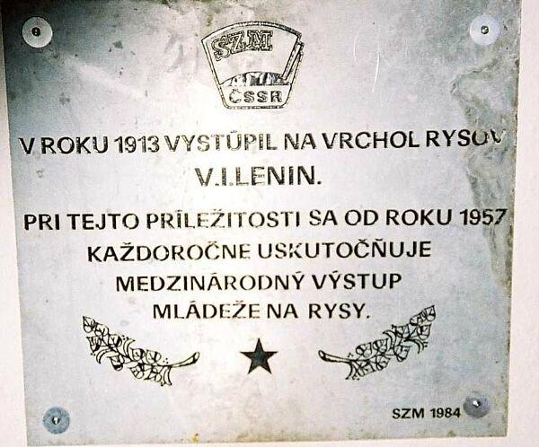 tablica Lenina na Rysach